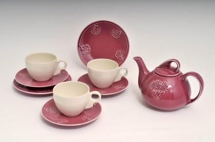 Pohutukawa Teapot, Rose pink  Saucer, Cup White