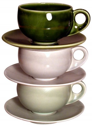 Three Coffee Cups and Saucers