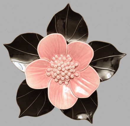 Ribbonwood flower rose pink with black kawakawa heart leaves