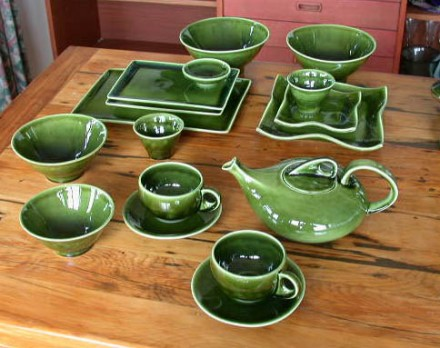 Moss green teapot, cups and plates