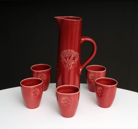 Pohutukawa Jug and Beakers Red