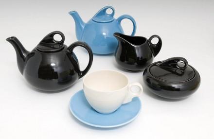 Tea set Aqua Black White