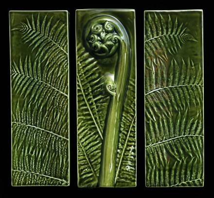 Triptych in Moss Green